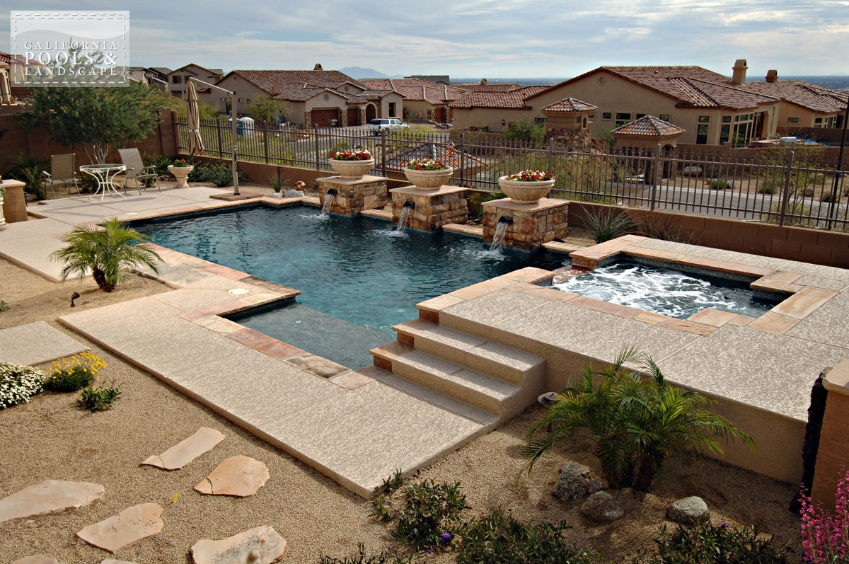 <i>Combination Decking, Decking, Flagstone, Modern, Pool, Poured Decking, Remodel, Water Feature</i>