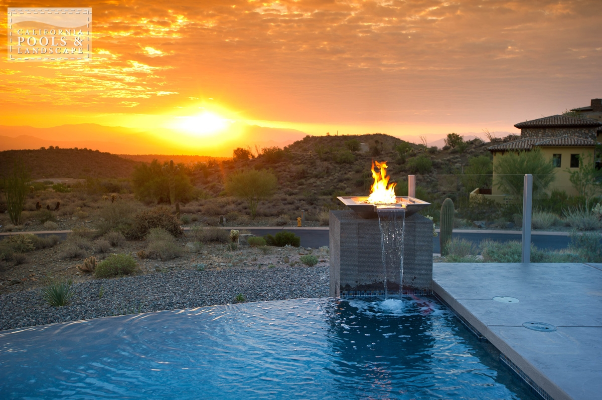 <i>Fire Features, Fire Pit, Metal, Modern, Tile, Vanishing Edge, Water Feature</i>