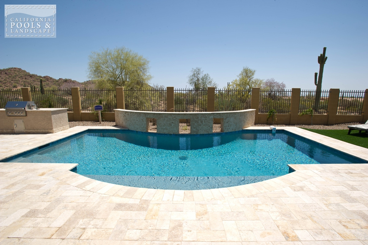 <i>Decking, Modern, Pool, Sea Glass Pebble, Travertine</i>