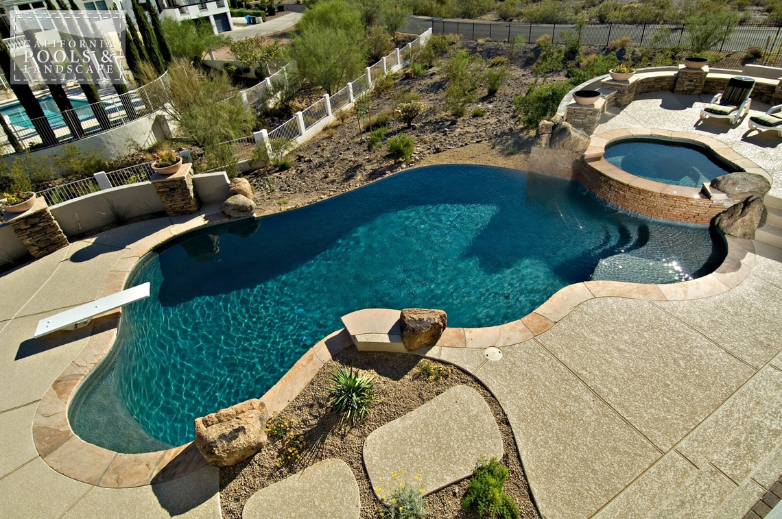 Phoenix AZ Swimming Pool Contractors & Landscape Builders - <i>Combination Decking, Organic, Pool, Spa, Special Items, Vanishing Edge, Decking</i>