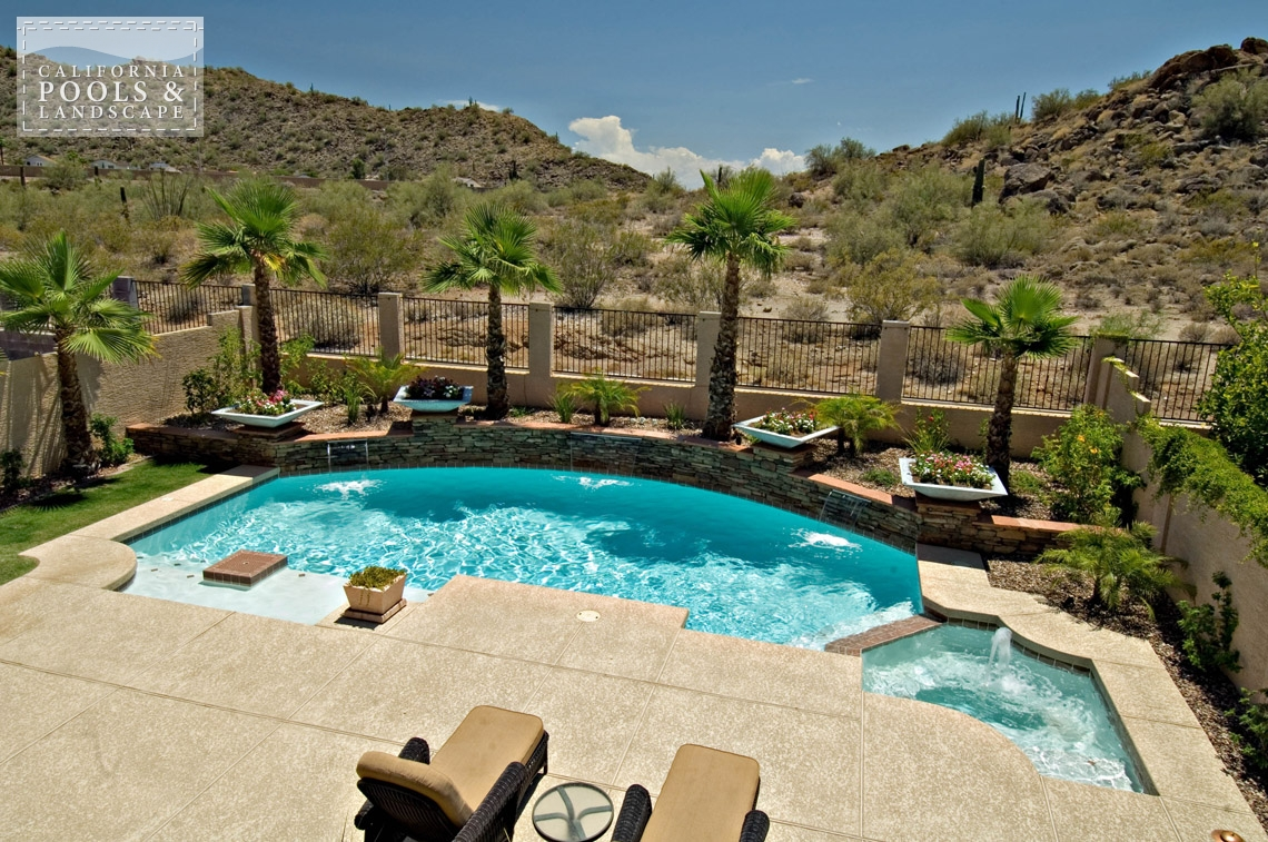 Phoenix AZ Swimming Pool Contractors & Landscape Builders - <i>Landscaping, Pool, Poured Decking, Retro, Spa, Stone, Decking, Water Features</i>