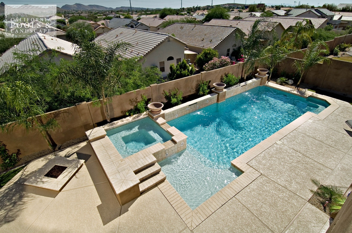 Swimming Pool by CPL Builders Phoenix Arizona - <i>Modern, Pool, Poured Decking, Spa, Decking</i>