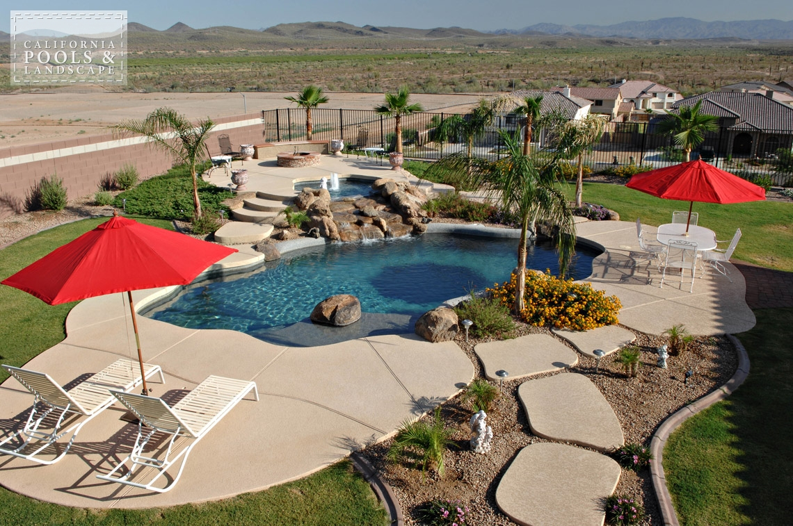 Swimming Pool by CPL Builders Phoenix Arizona - <i>Landscaping, Organic, Pool, Poured Decking, Decking</i>