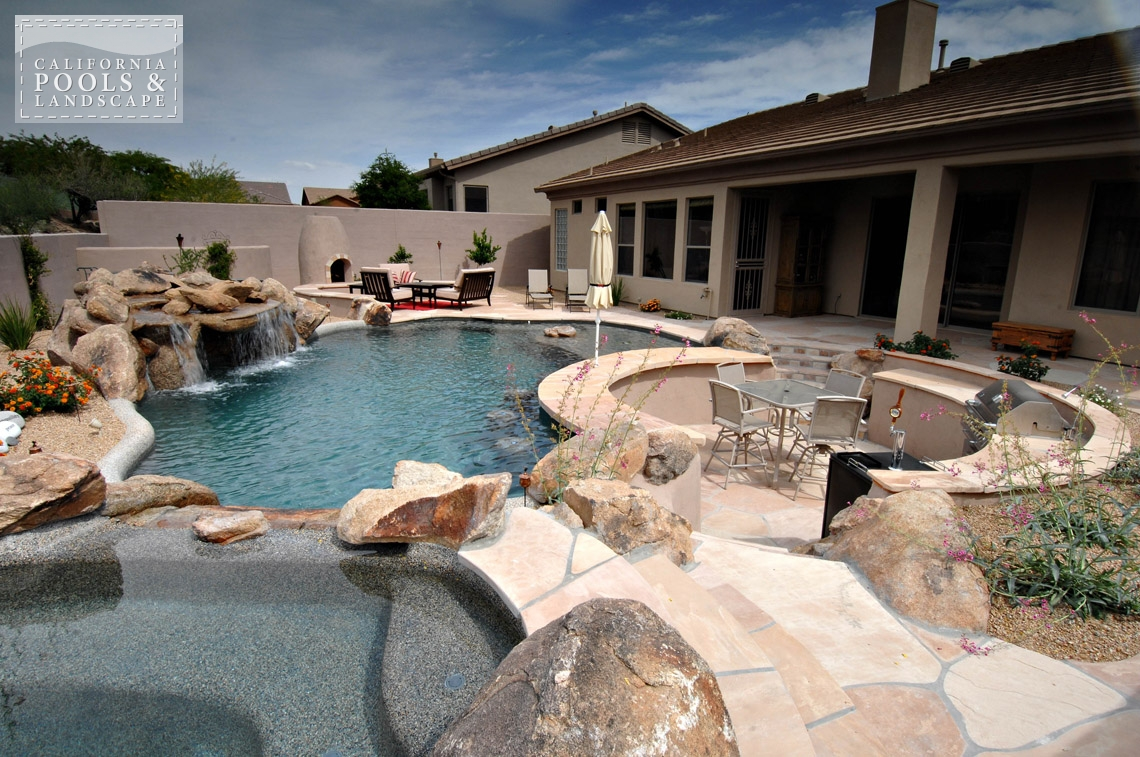 AZ Swimming Pool Contractors California Pool & Landscape - <i>Grotto, Organic, Pool, Spa, Swim Up Bar, Water Features</i>