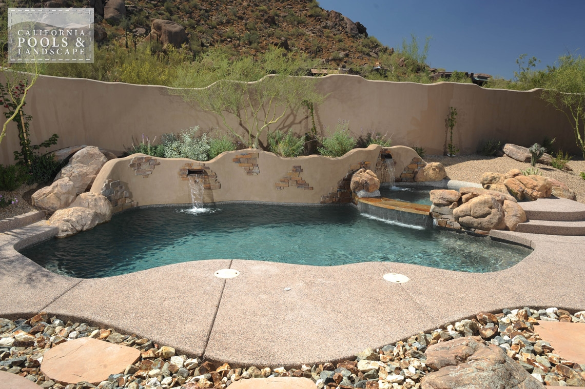 Phoenix In-ground Swimming Pool Builders - <i>Organic, Pool, Poured Decking, Decking</i>