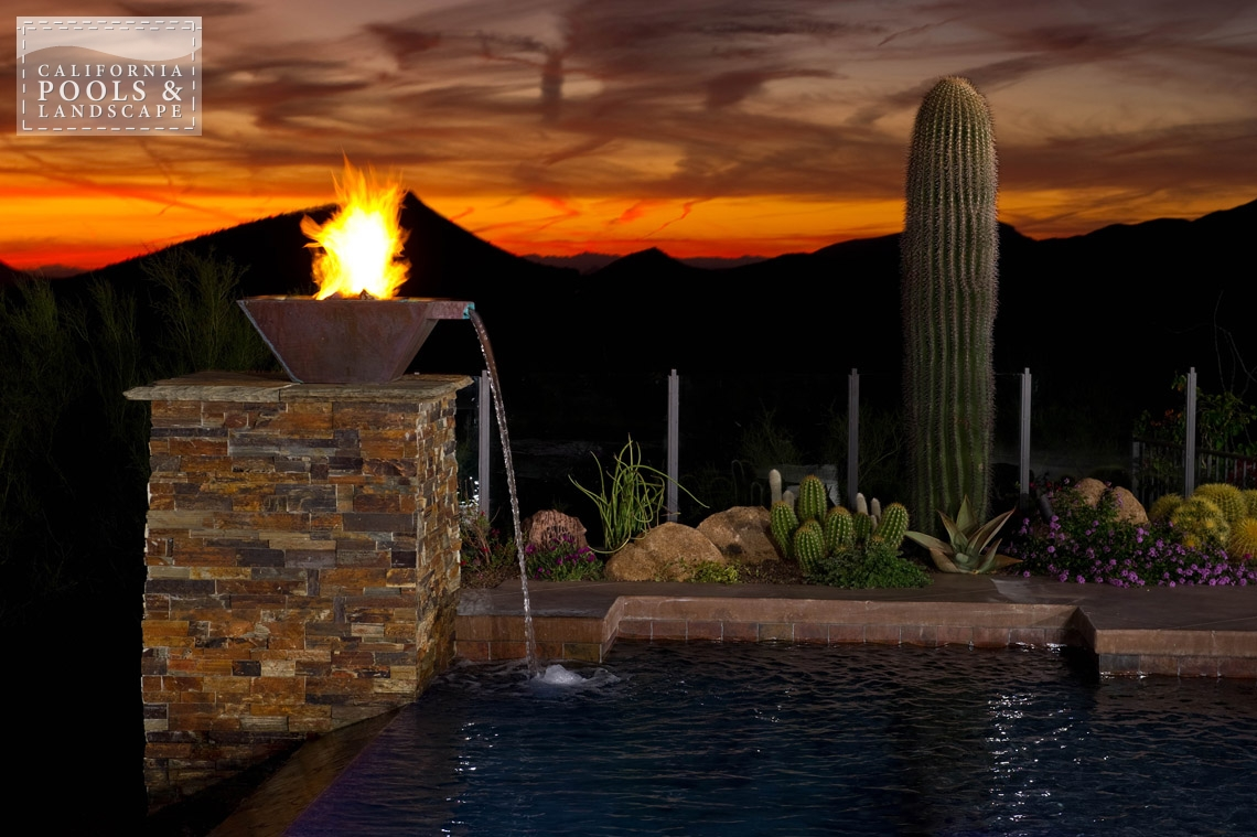 Arizona In-ground Swimming Pool Builders - <i>Fire Features, Fire Pot, Metal, Modern, Remodel, Vanishing Edge, Water Features</i>
