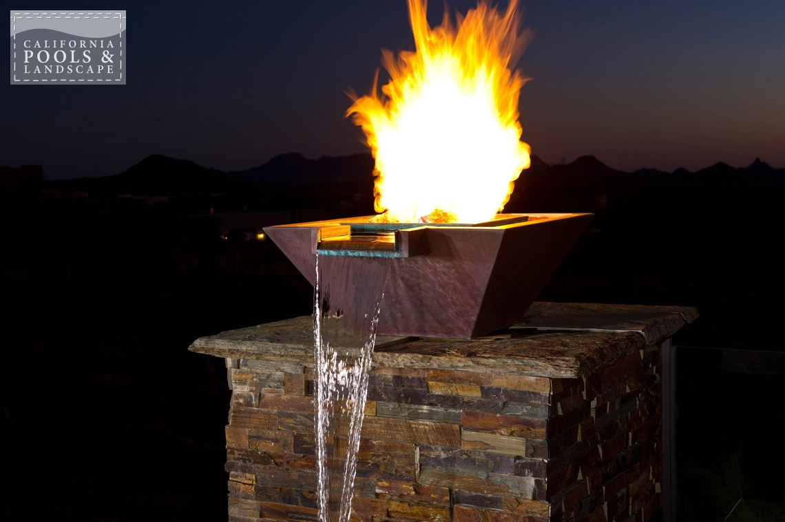 Arizona In-ground Swimming Pool Builders - <i>Fire Features, Fire Pot, Metal, Modern, Remodel, Water Features</i>