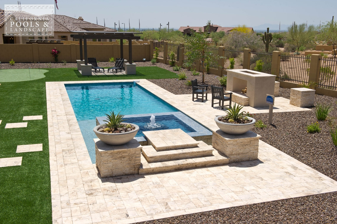 Arizona In-ground Swimming Pool Builders - <i>Fire Features, Fire Place, Landscaping, Pool, Retro, Shade Structure</i>