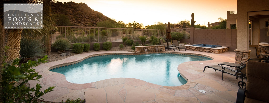 Arizona In-ground Swimming Pool Builders - <i>Flagstone, Landscaping, Organic, Remodel, Decking, Water Features</i>