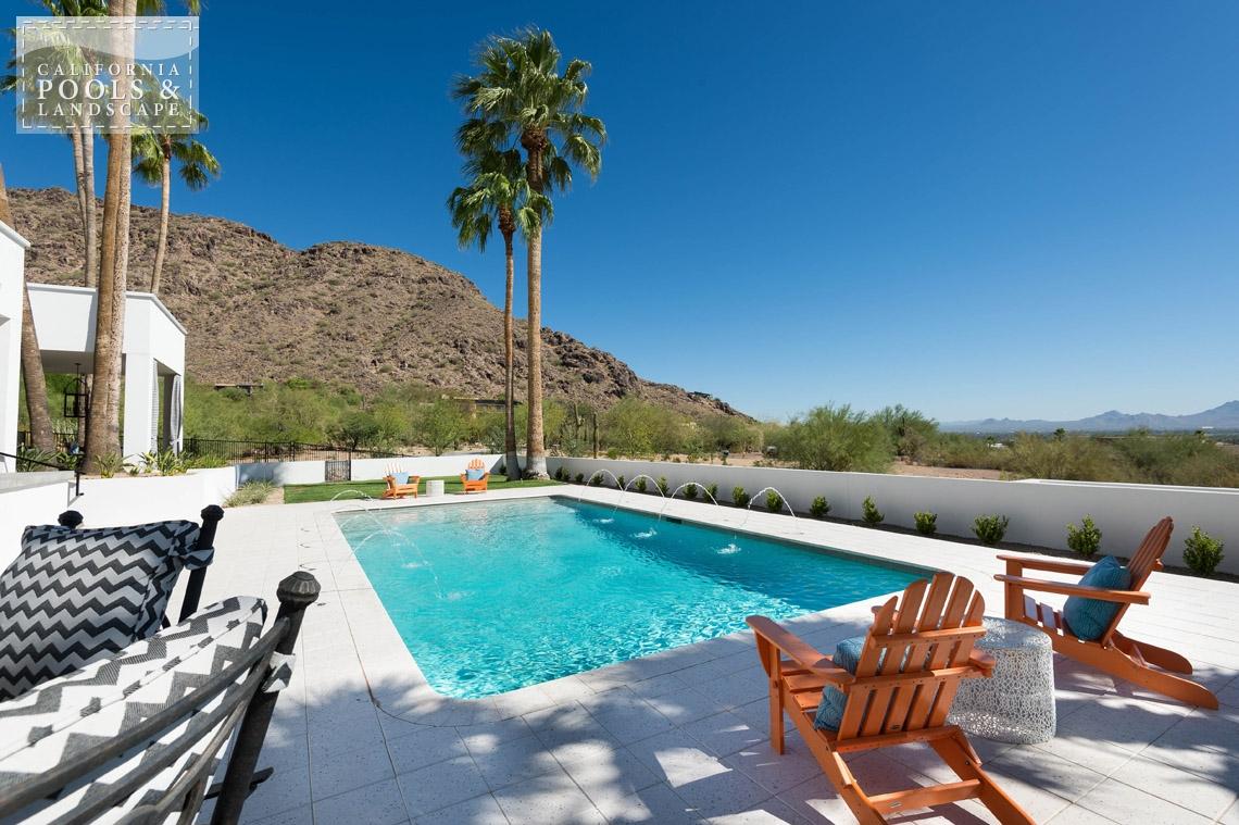 Arizona In-ground Swimming Pool Builders - <i>Remodel, Retro, Sea Glass Pebble</i>