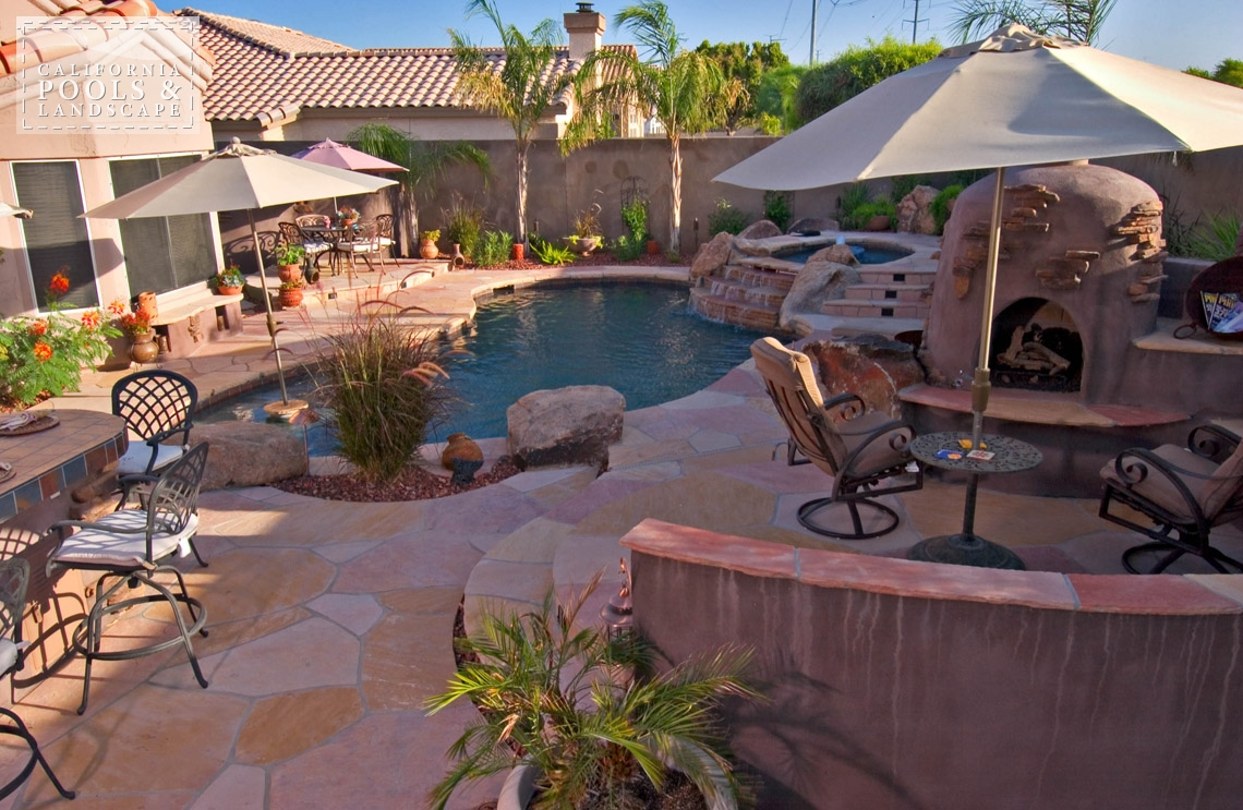 Swimming Pool by CPL Builders Phoenix Arizona - <i>Flagstone, Organic, Remodel, Decking, Water Features</i>