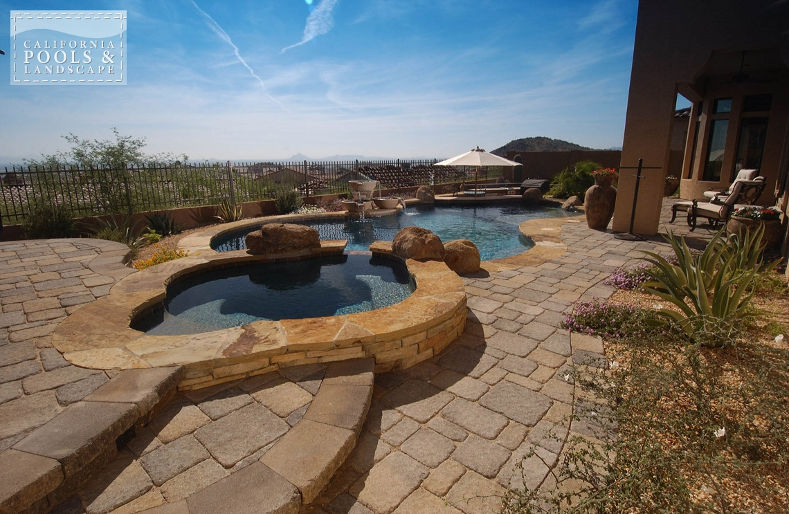 Arizona In-ground Swimming Pool Builders - <i>Combination Decking, Concrete Pavers, Flagstone, Organic, Remodel, Decking, Water Features</i>