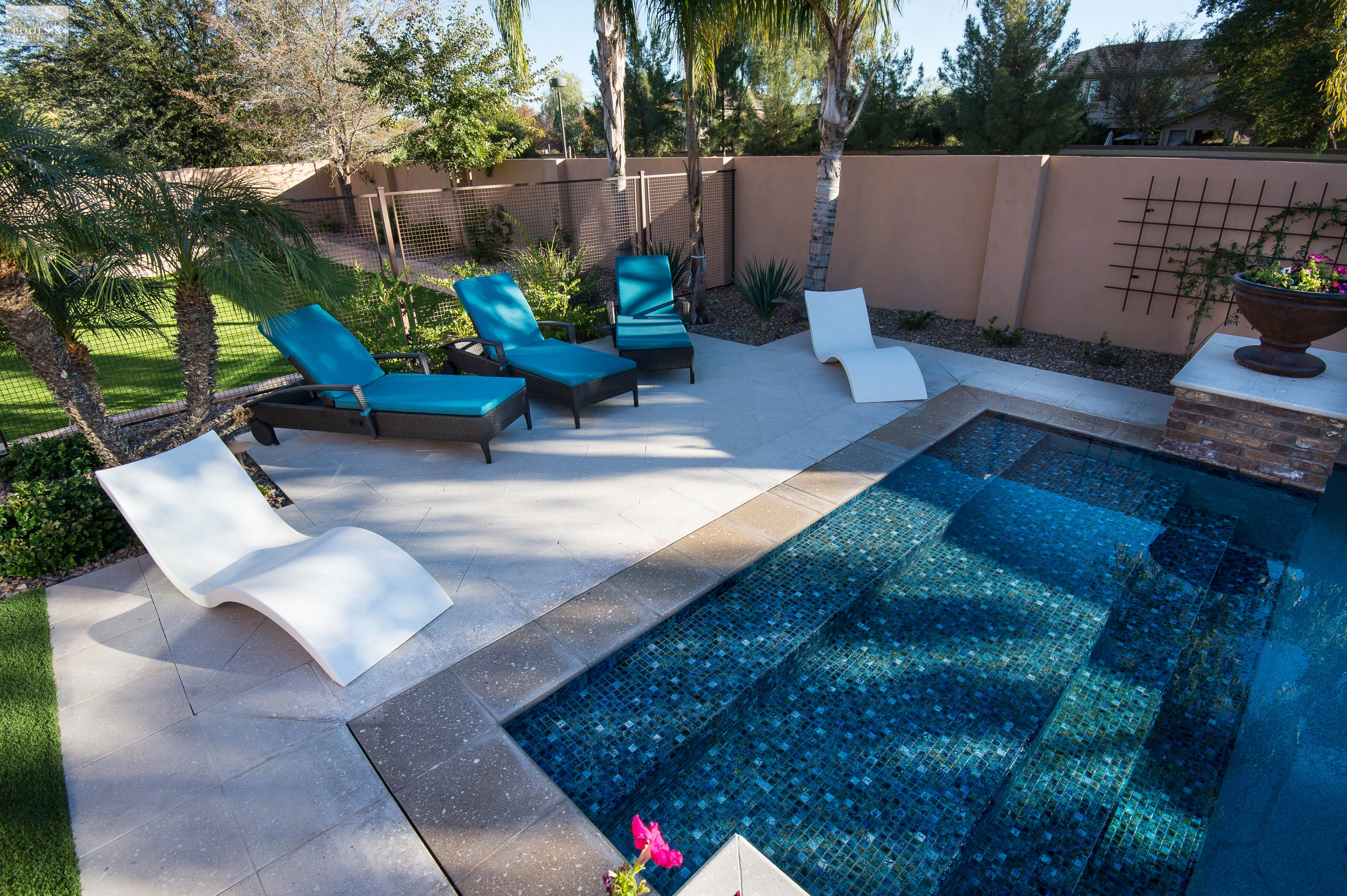 California pool landscape gallery of completed backyards for Pool garden edging