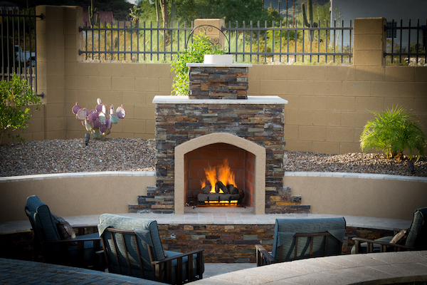 Arizona Backyard Design Fireplace