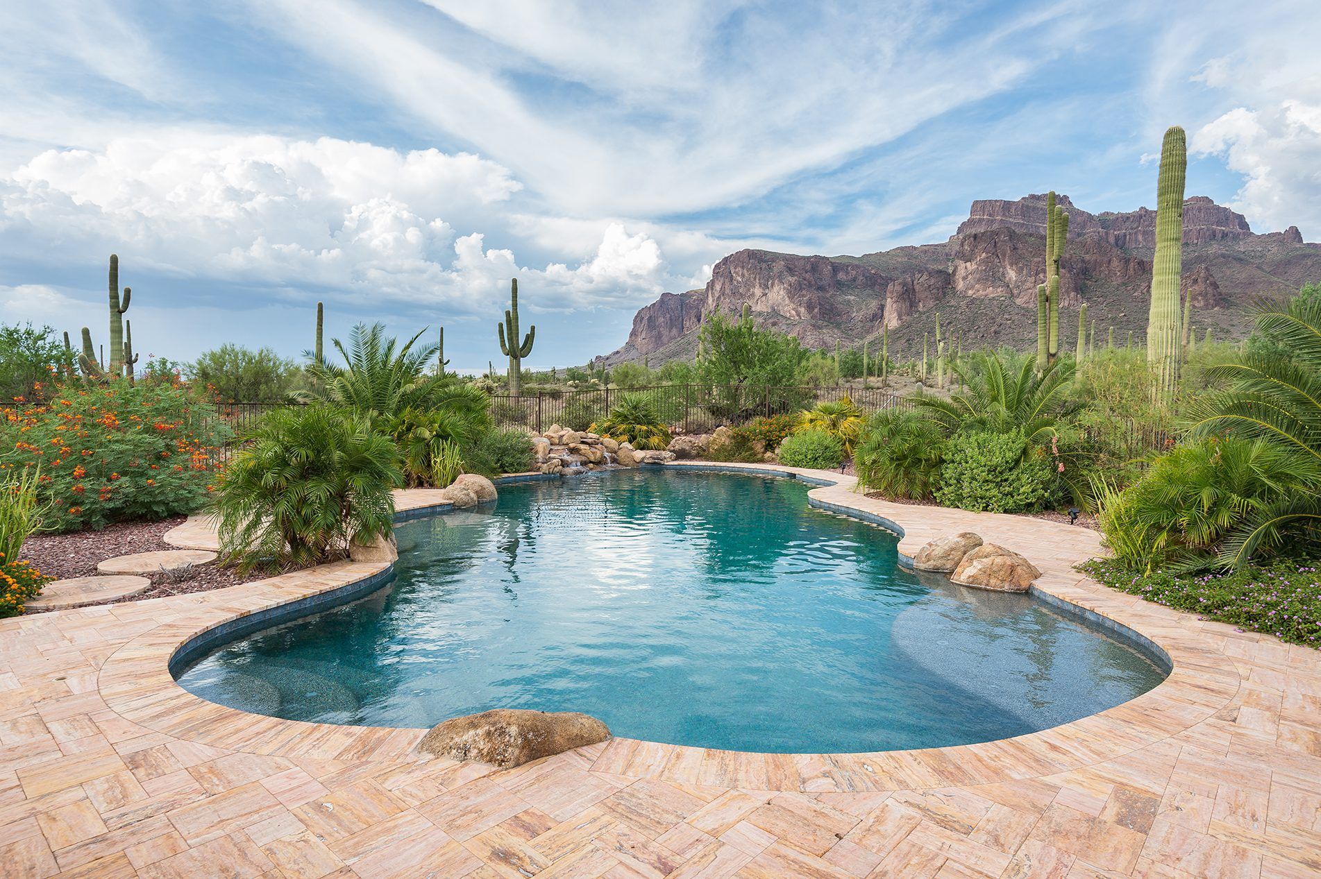Desert Pool Under Mountain
