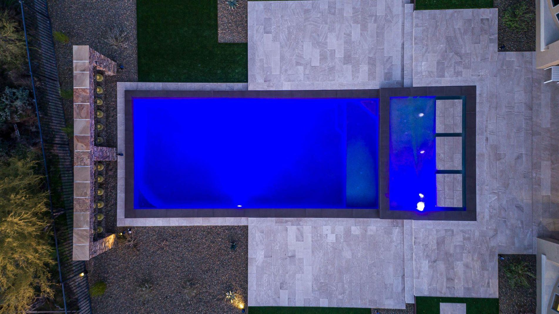 Modern Geometric Swimming Pool Art In Cave Creek Drone View