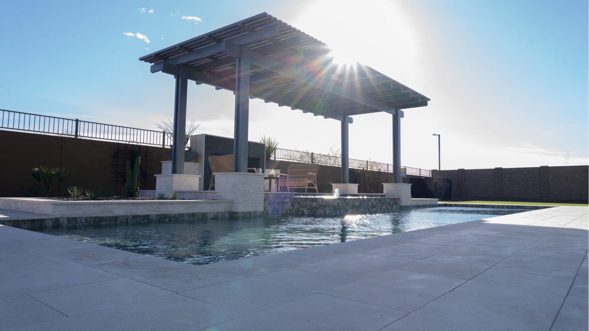 Pool Point Of View - Modern Classic Style In Sedella Pool Shade Cover