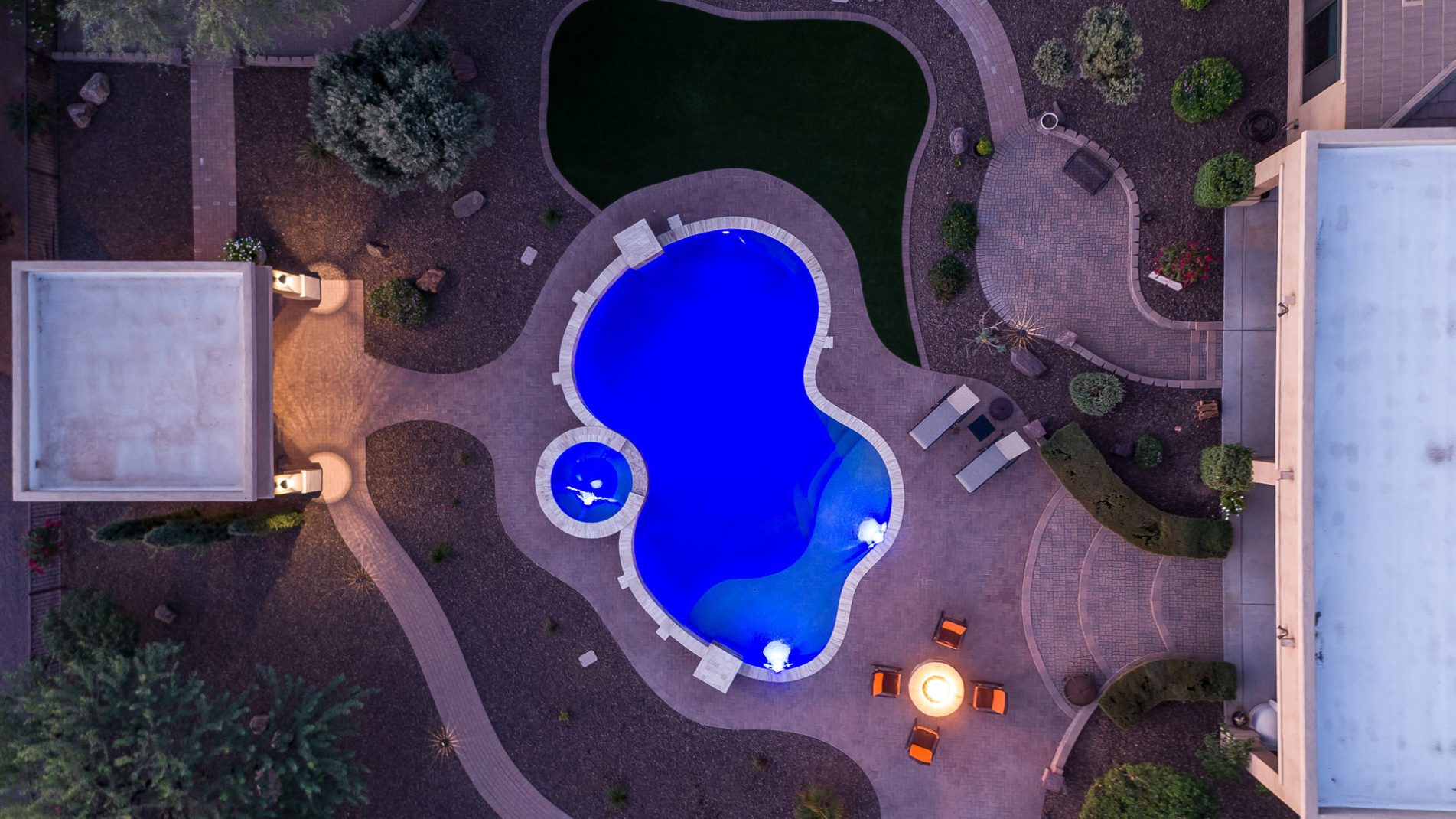 Drone View of Freeform Swimming Pool In Phoenix