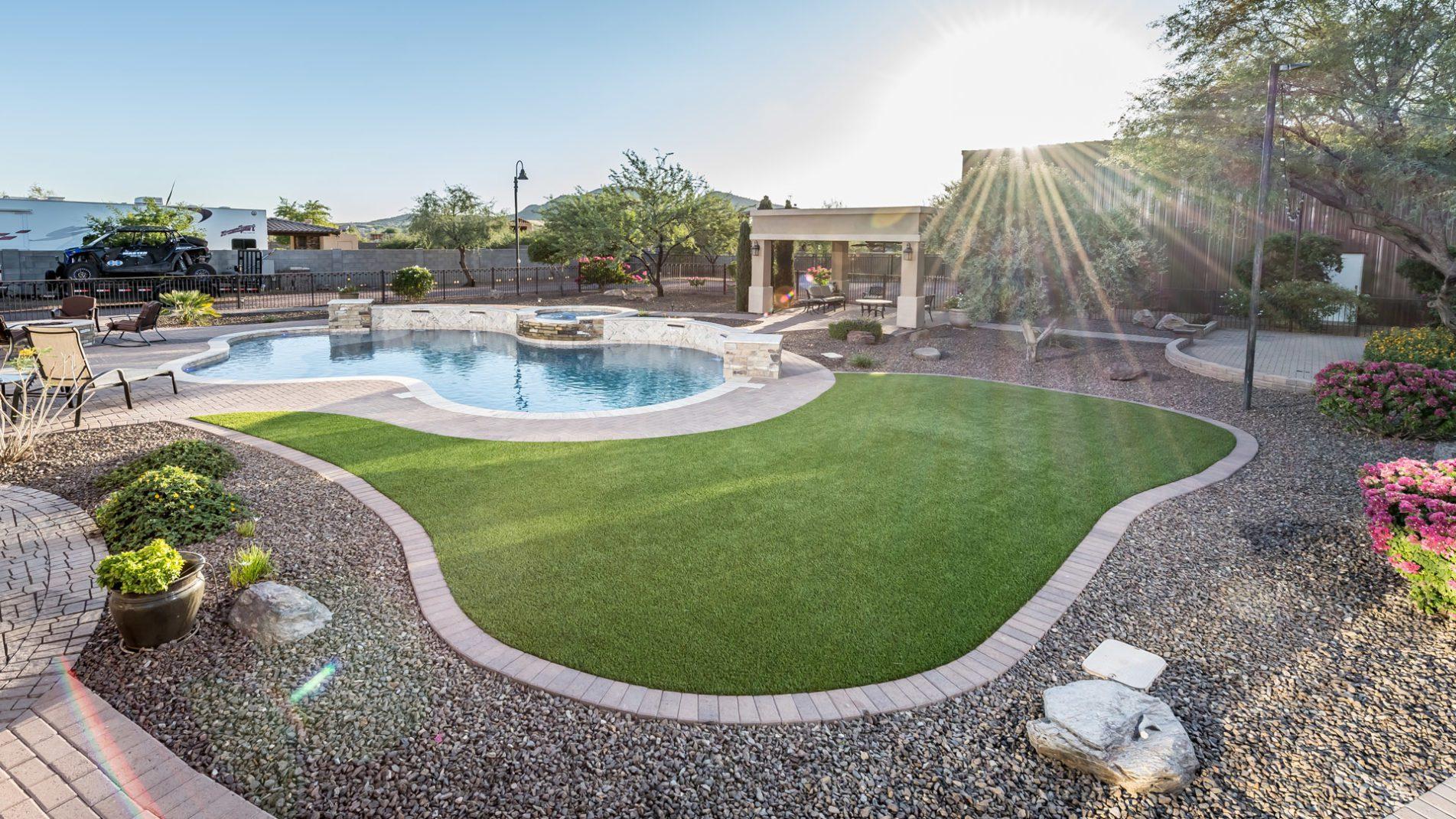 Landscape View of Freeform Swimming Pool In Phoenix