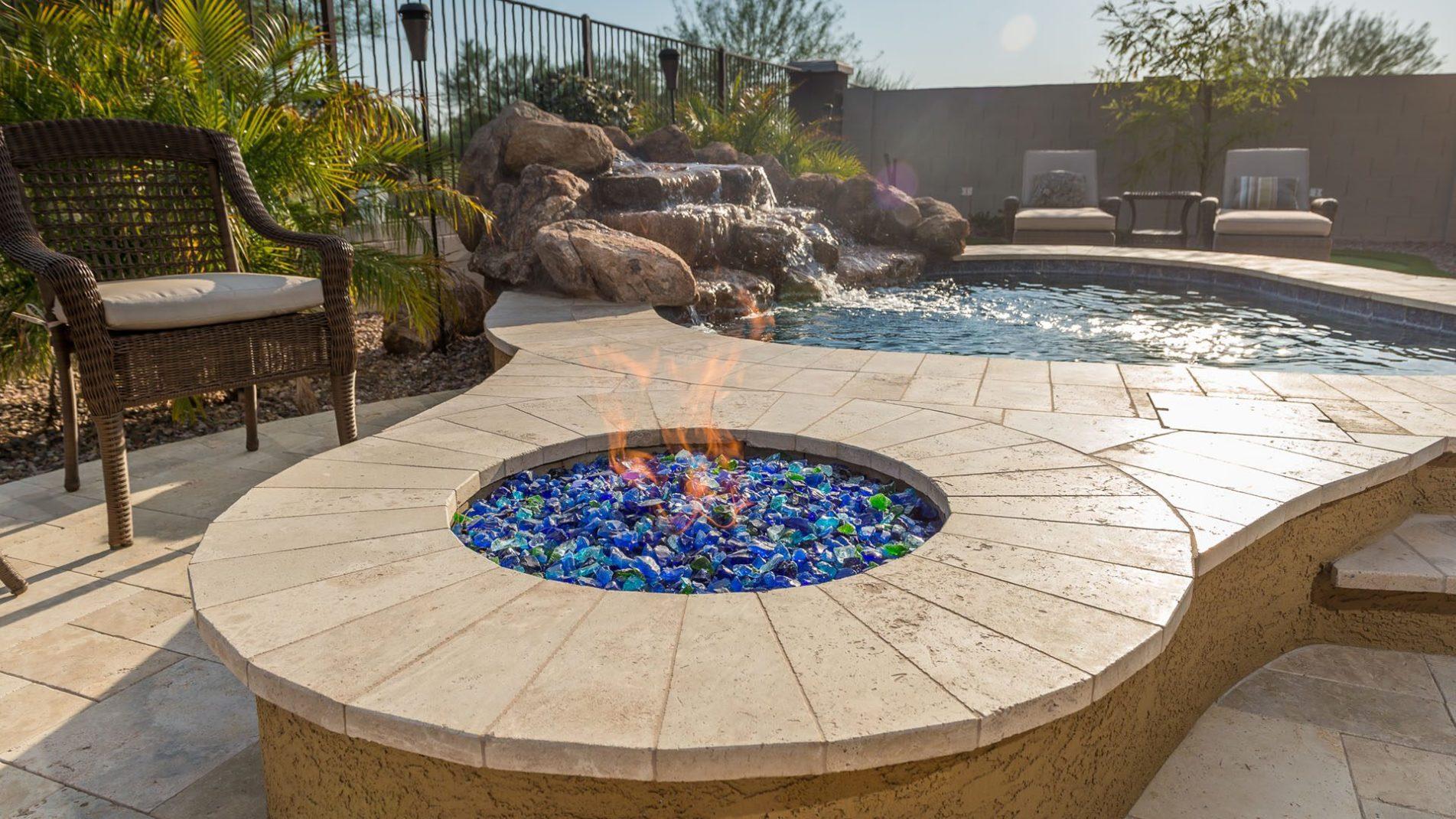 Small Backyard Pool Design Ideas: Queen Creek Ace Fire Pit