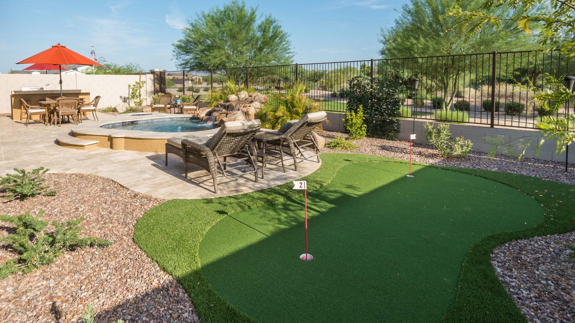 Small Backyard Pool Design Ideas: Queen Creek Ace Putting Green