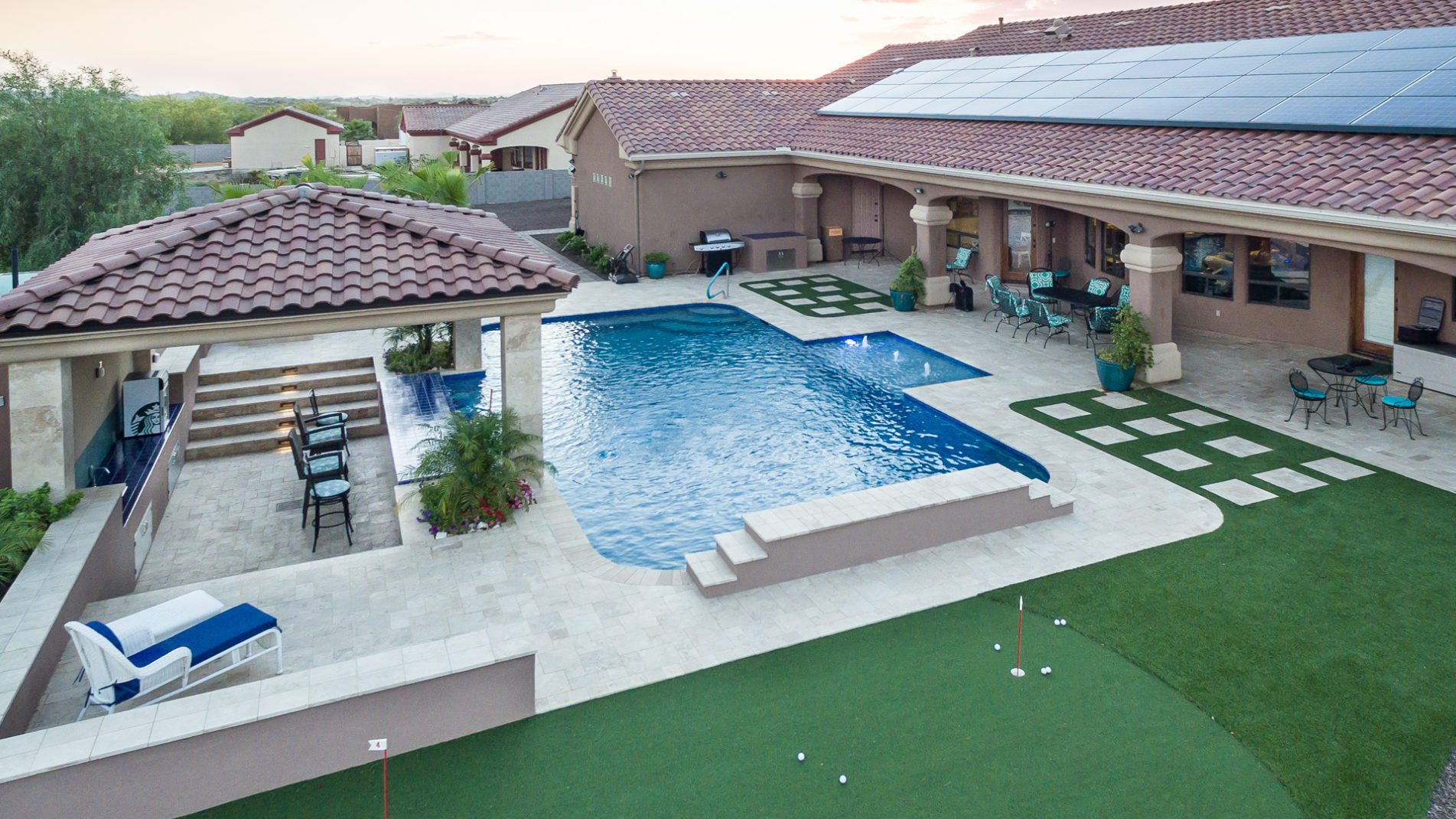 Retro Classic Clubhouse Pool Drone View