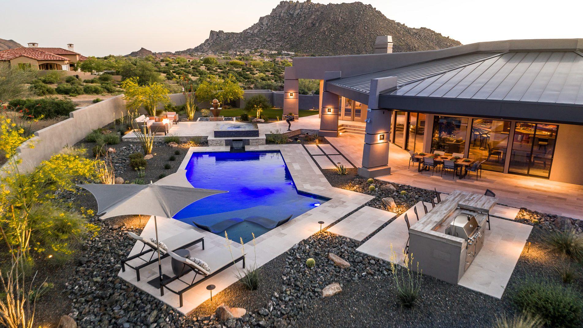 Scottsdale Sanctuary Swimming Pool Drone View