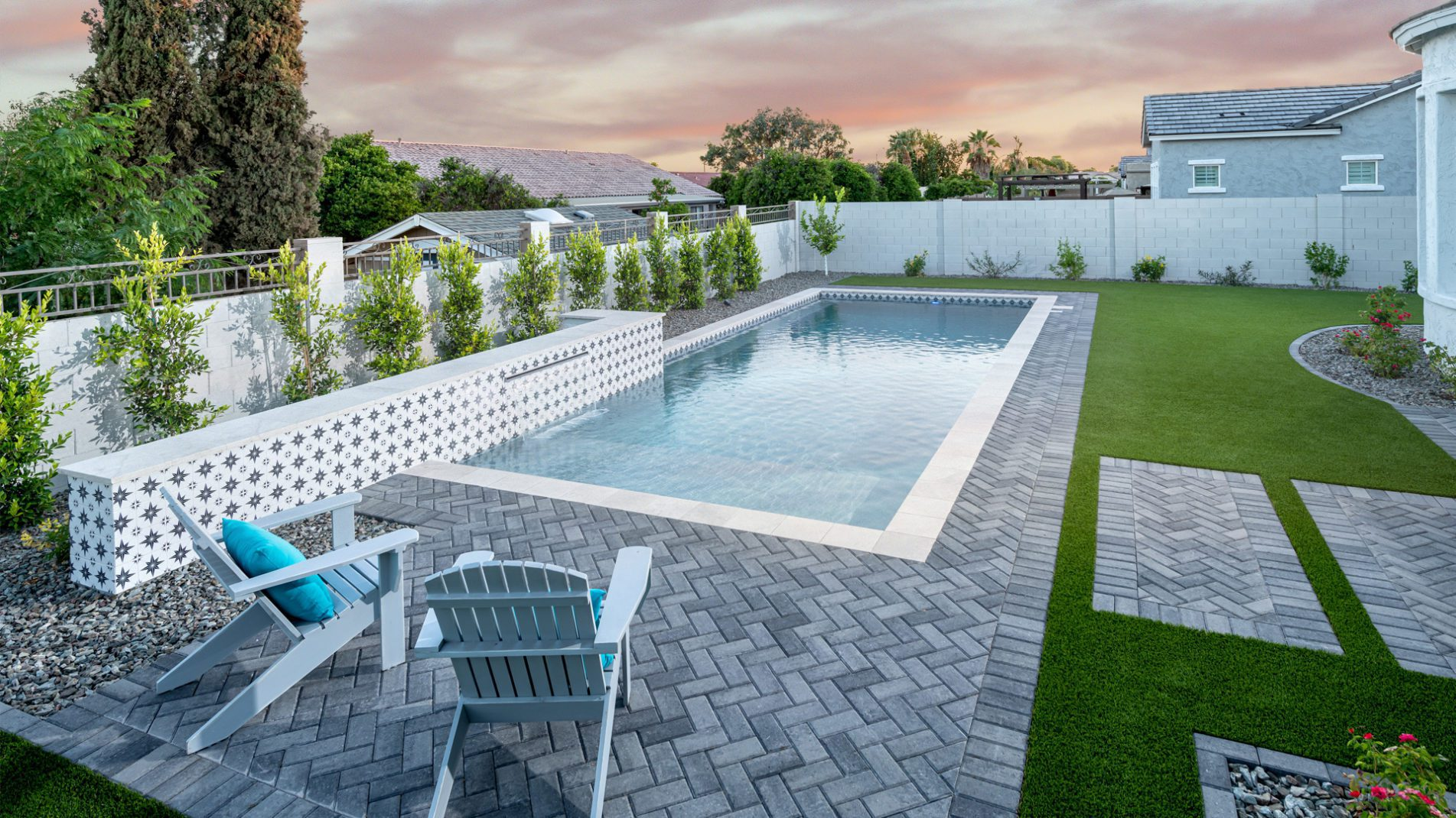 Pool Point Of View - Starburst Monochrome Full Backyard